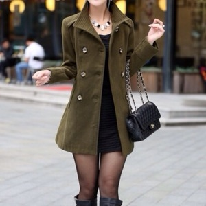 Green army belted high collar wool jacket