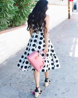dress tumblr polka dots midi dress bag pink bag sandals wedges wedge sandals summer dress summer outfits sleeveless dress