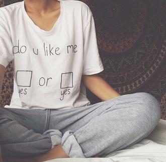 shirt pants t-shirt white black joggers white shirt do you love me yes or yes shirt