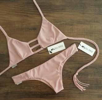 swimwear bikini nude sexy braided beach beige
