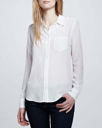 Equipment Brett Button-Up Blouse, White - Neiman Marcus