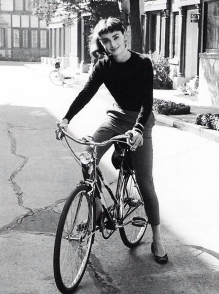 shirt audrey hepburn jewels black pants vintage grey long sleeve fitted bike