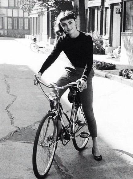 black pants audrey hepburn shirt jewels vintage grey long sleeves fitted bike