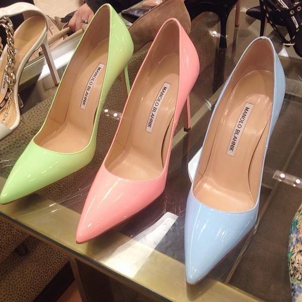 shoes pink blue green heels