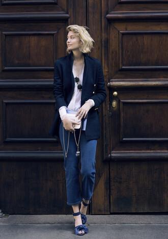 zanita blogger jacket shirt jeans shoes sunglasses bag dress