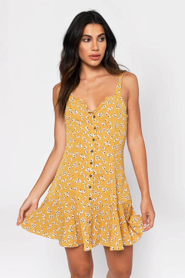 Sunshine Gal Yellow Floral Print Skater Dress