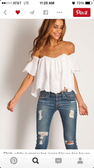 blouse white top lace top country jeans