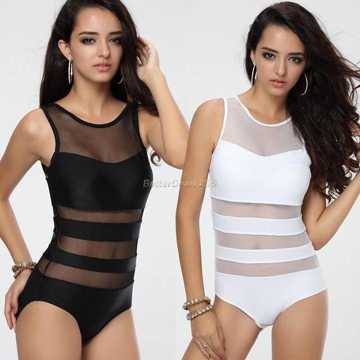 One-piece Women Padded Mesh Monokini Bikini Swimsuit Swimwear Swimdress Tankini
