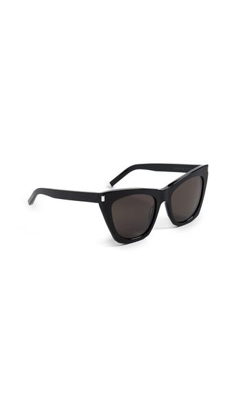 Saint Laurent Kate Cat Eye Sunglasses in black / grey