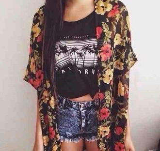 jacket kimono black hibiscus floral summer spring sun hippie