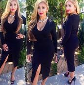 kim kardashian,midi dress,bodycon dress,deep v dress,v neck dress,black dress,little black dress