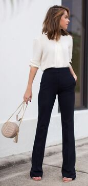 pants,white blouse,black trousers,beige handbag,blogger