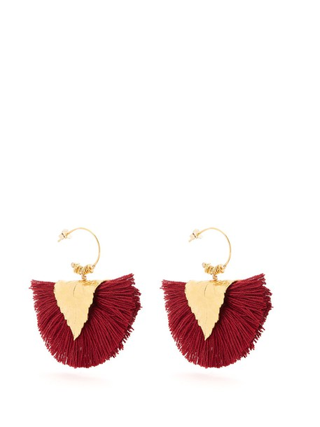 ELISE TSIKIS tassel earrings burgundy jewels