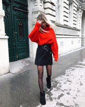 sweater,tumblr,red sweater,knit,knitwear,knitted sweater,skirt,mini skirt,leather skirt,black leather skirt,boots,black boots,tights