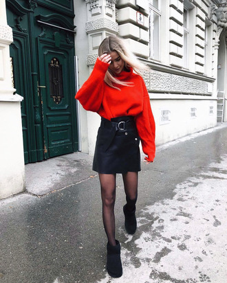 sweater tumblr red sweater knit knitwear knitted sweater skirt mini skirt leather skirt black leather skirt boots black boots tights