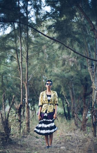 fuss blogger kimono tie dye black and white dress