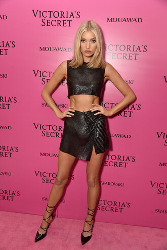 skirt top elsa hosk mini skirt black crop tops pumps model victoria's secret victoria's secret model shoes