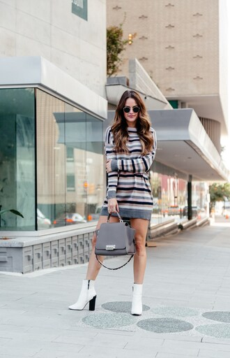 dress tumblr sweater dress knitted dress knit stripes striped dress boots white boots ankle boots sunglasses bag grey bag