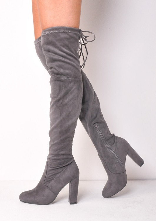 Thigh High Tie Back Faux Suede Knee High Heeled Boots Light Grey