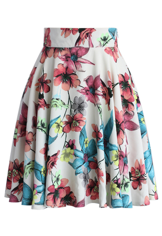 skirt pink camellia a-line skirt chicwish pink skirt a-line skirt floral skirt summer skirt