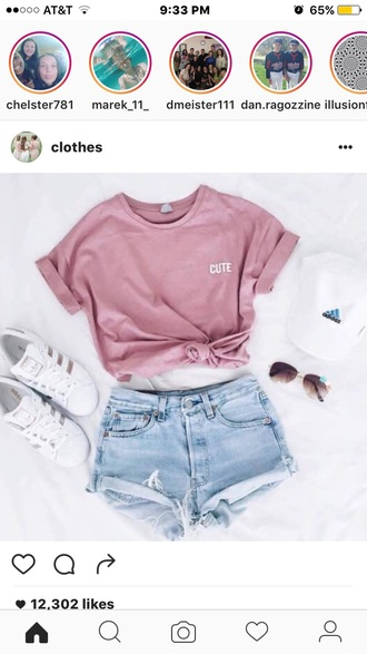 shirt t-shirt pink cute adidas superstars adidas cap outfit summer