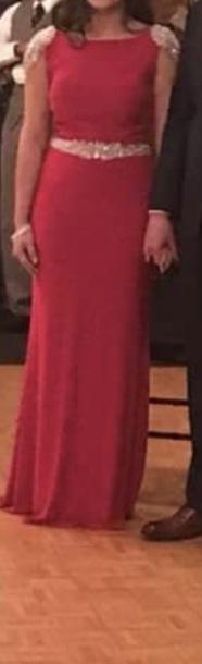 dress pink dress gold belt gold shoulder