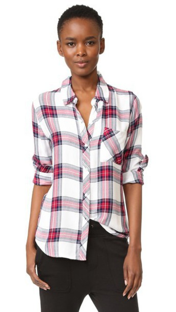3d12d312 Rails Hunter Button Down Shirt - White/Rose/Navy - Wheretoget