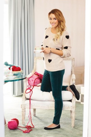sweater lauren conrad black hearts
