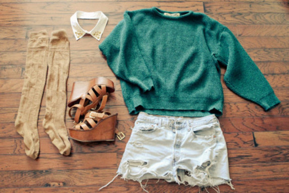 sweater pull vert wedges collar socks shorts blouse bag green jade cozy