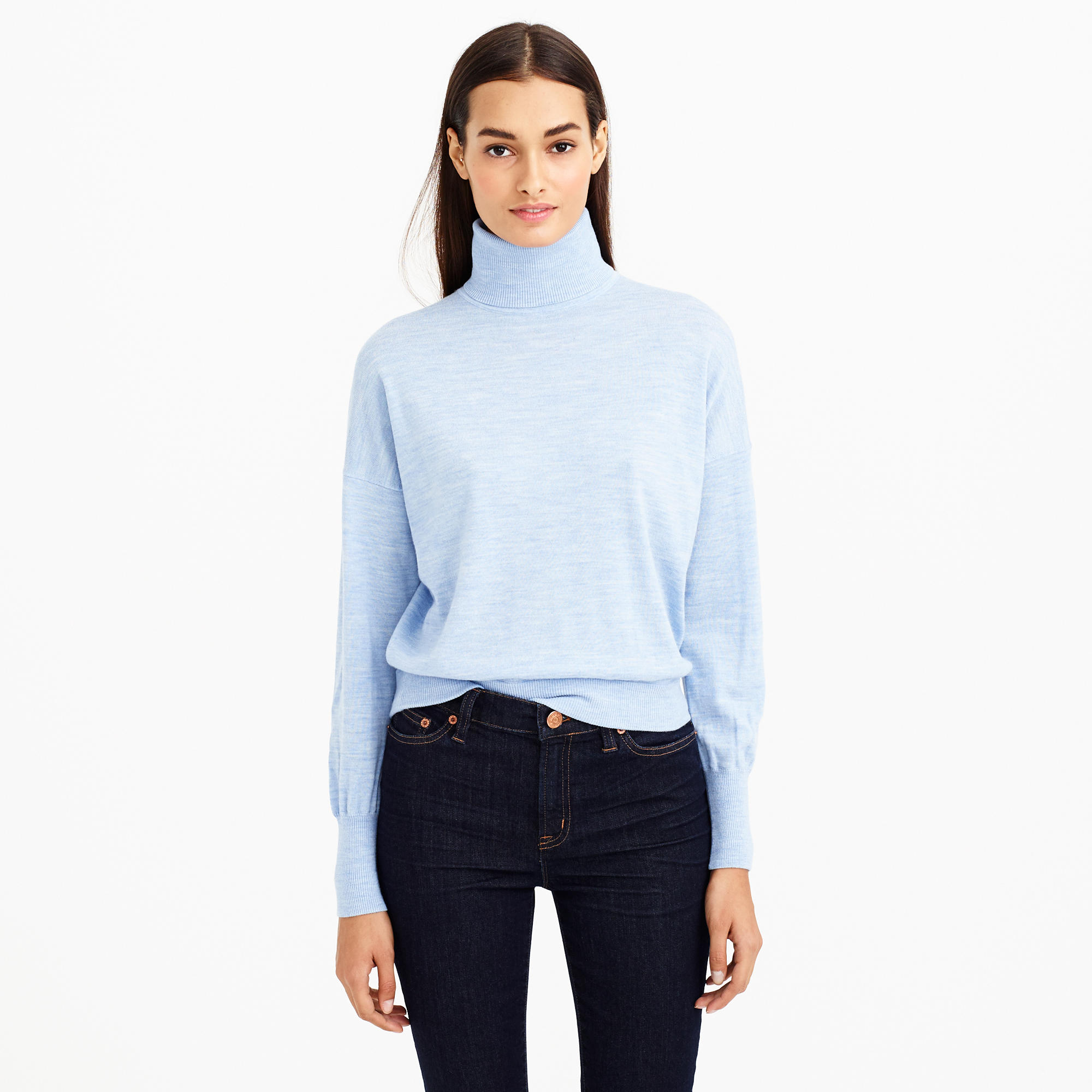 Heathered merino wool turtleneck sweater