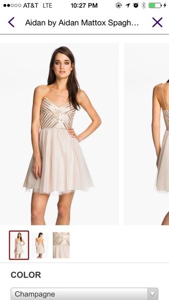dress tan dress gold sequins flowy dress