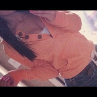 long sleeves sweatshirt peach buttons