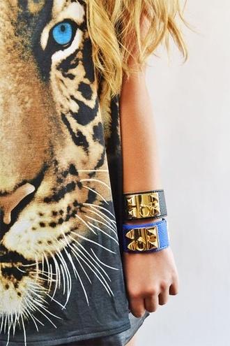 t-shirt top tiger eye jewels animal face print