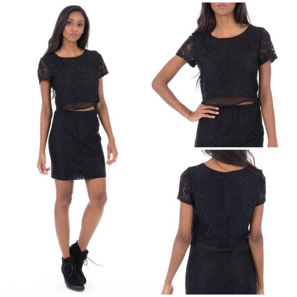 top black black lace crop tops skirt black dress outfit shoes