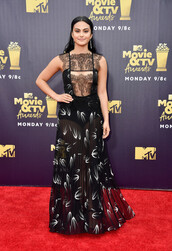 dress,gown,prom dress,camila mendes,see through,see through dress,lace dress,red carpet dress,mtv movie awards