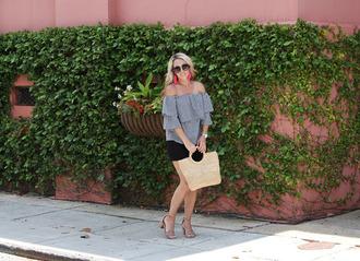 twopeasinablog blogger top shorts sunglasses bag jewels shoes basket bag off the shoulder top sandals high heel sandals summer outfits