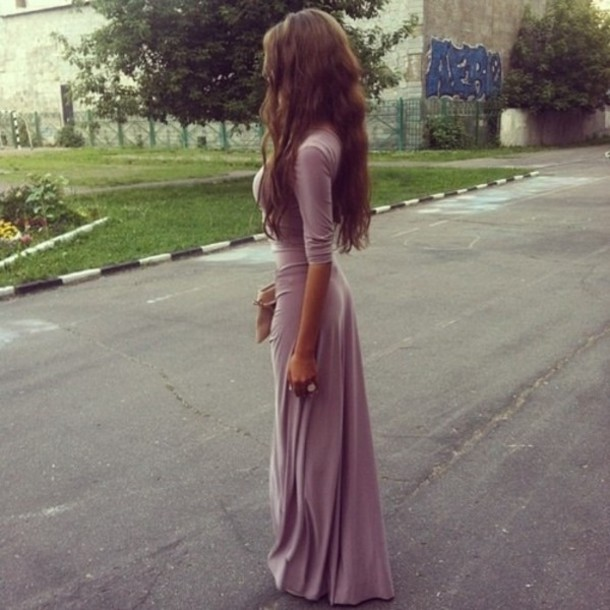 04418613f5c38 dress long prom dress maxi dress purple dress three-quarter sleeves pinkish  boho dress long