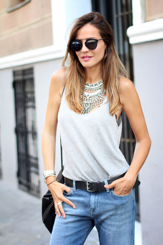 lady addict jewels t-shirt jeans shoes statement necklace necklace aviator sunglasses denim tank top summer outfits hipster blogger jewelry silver silver necklace