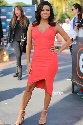 sandals dress red dress eva longoria shoes