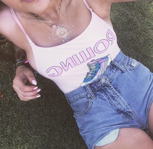 shirt rolling coachella festival hippie boho graphic tee hipster bodysuit t-shirt tank top pink top shorts jewels