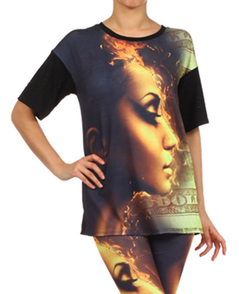 Women Hot Sexy Diva Girl on Fire Print Top T Shirt w/ Cut Out Detail Sleeves USA