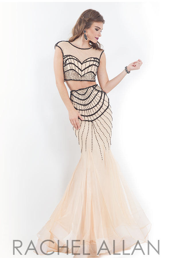 Piece gown with beading on soft tulle