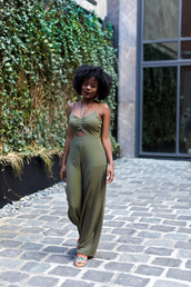 jumpsuit,one piece,sandals,green jumpsuit,green,open toes