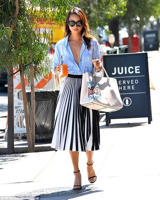shirt blue shirt pleated skirt black and white skirt midi skirt
