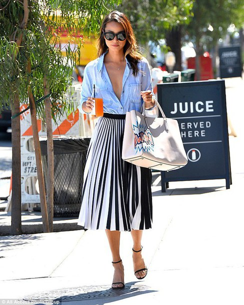 Shirt: blue shirt, pleated skirt, black and white skirt, midi ...