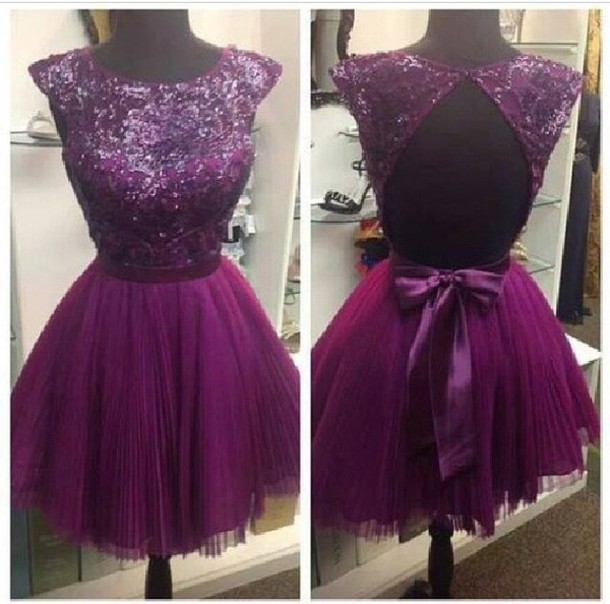 purple dress purple sparkels jewels short high collar dress homecoming dress prom dress classy girly bows instagram christmas dress cocktail dress style backless fashion cute prom clothes beautiful lilac tulle dress glitter partial open back open back bow sparkle sequins