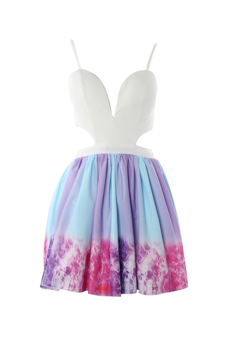 Candy color tye dye dress