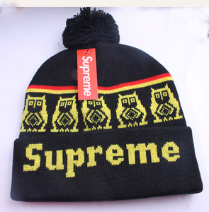 Yellow and Black Men s Hip Hop Supreme Beanie Autumn Winter Knit ... 4335691f059