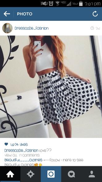 polka dot skirt black and white