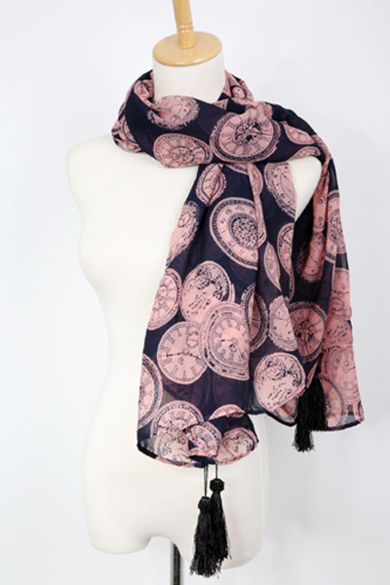 2013 Fashion Clock Pattern Chiffon Scarf,Cheap in Wendybox.com